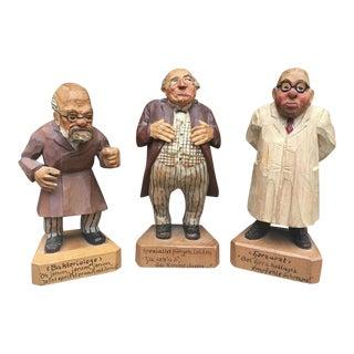 Folk Art Wooden German Doctor Figures - Set of 3