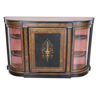 19th Century French Napoleon III Ebonized Inlay Wood Cabinet With Vetrine For Sale