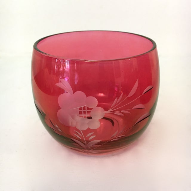 West Virginia Glass Specialty Co. Mid-Century Etched Cranberry Martini Pitcher & Roly Poly Glasses - 5 Pc. Set For Sale - Image 4 of 6