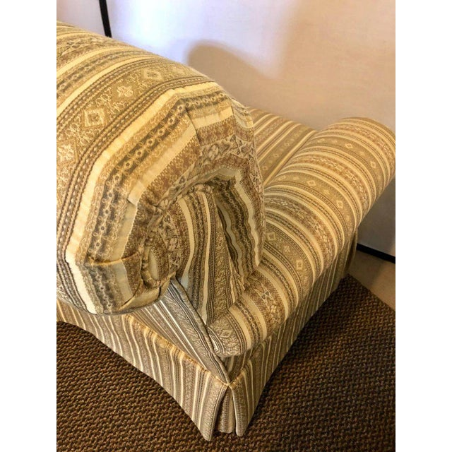 Fabric Pair of Hollywood Regency Style Custom Overstuffed Arm/Lounge Chairs Fine Fabric For Sale - Image 7 of 10