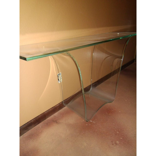 Fiam Italia Late 20th Century Vintage Fiam Style All Glass Ghost Console Table For Sale - Image 4 of 10