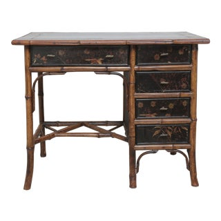 19th English Bamboo Desk With Five Drawers For Sale