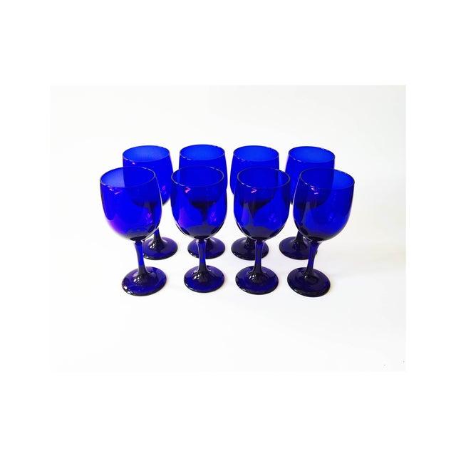 Vintage Cobalt Blue Wine Glasses - Set of 8 - Image 3 of 5