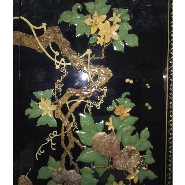 Lacquer Vintage Chinoiserie Black Lacquer Mother of Pearl Inlay Wardrobe Armoire - Pair Available For Sale - Image 7 of 11