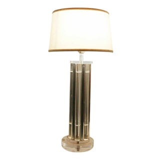 Columnar Lucite and Aluminum Rods Lamp, in the Style of Charles Hollis Jones For Sale