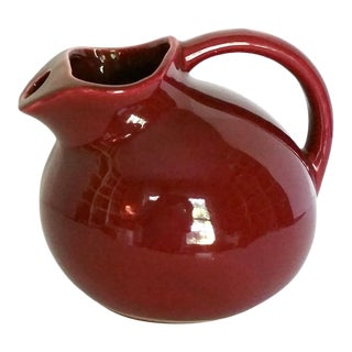 Vintage 1940s McCoy Stoneware Pottery Cranberry Ball Pitcher For Sale