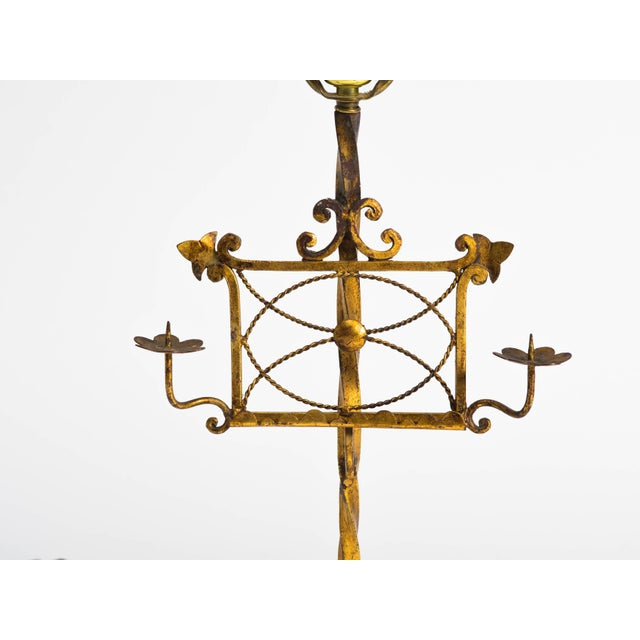 Gilt metal Italian music stand table lamp with candleholders.