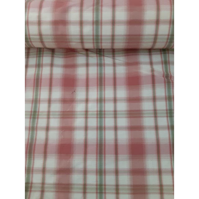 No bids, no further discount. Gorgeous designer fabric-rosy pink, and light green on cream plaid with a slight sheen.....