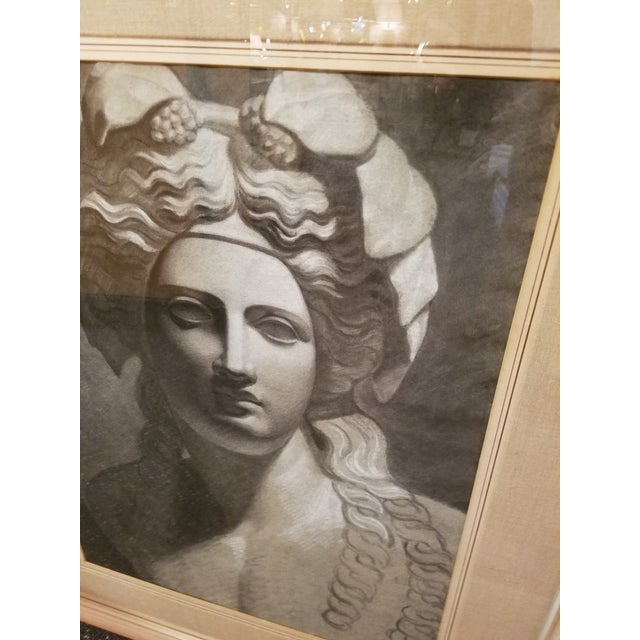 Circa 1900 French Classical Charcoal Drawing of Young Bacchus - Image 3 of 7