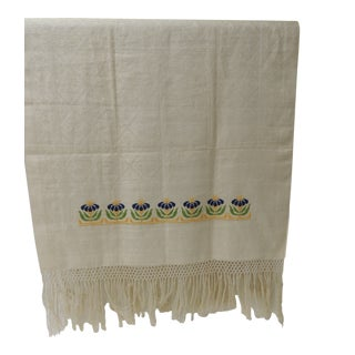 Antique Woven Floral Turkish Towels With Hand-Knotted Fringes For Sale