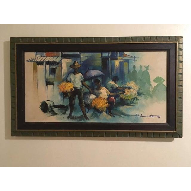 Original Alfredo Buenaventura mid-century impressionist oil painting - 1968. Vibrant color scheme, original work, signed...