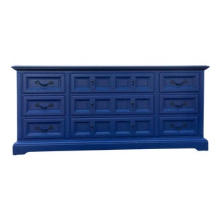 1970s Vintage Dixie Lacquered Blue and Black Dresser For Sale