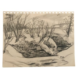 1952 Winter Pond Scene Drawing For Sale