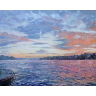"Miranda Girard ""Beautiful Day, Lake Geneva"" Impressionist Seascape Oil Painting For Sale"