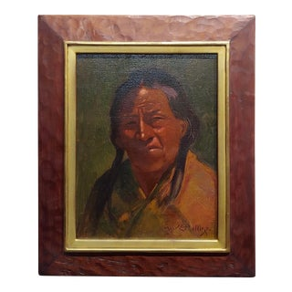 Warren Eliphalet Rollins -Portrait of a Taos Indian Chief-Oil Painting-C1910s For Sale