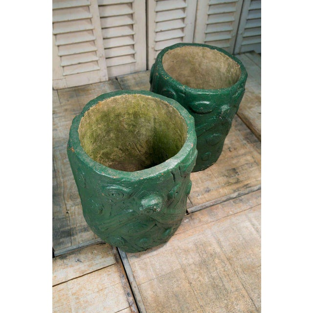 Pair French Green Cement Faux Bois Planters, circa 1940 - Image 2 of 4