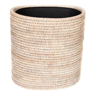 Artifacts Rattan Oval Waste Basket With Metal Liner For Sale