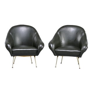Pair Italian Mid Century Lounge Chairs in Manner of Minotti For Sale