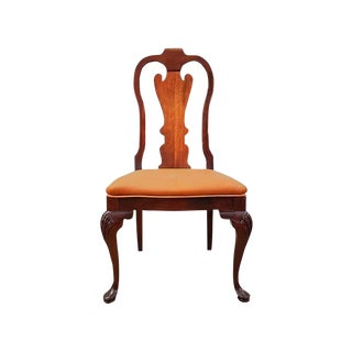 Vintage French Chippendale Oak Side Dining Chair For Sale