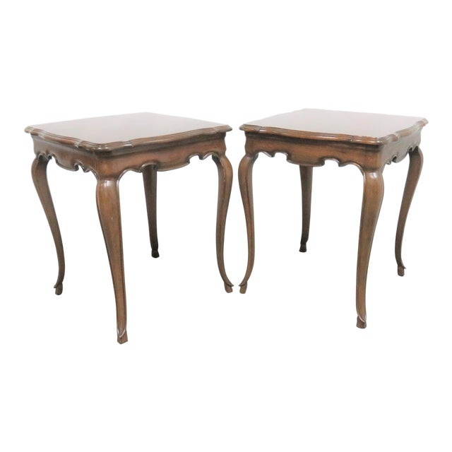 French Style Walnut Side Tables - a Pair For Sale
