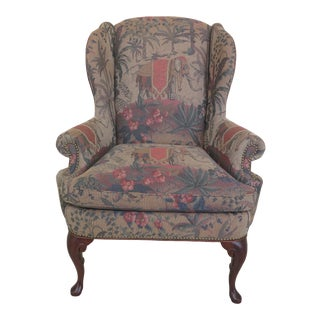 Elephant Print Upholstered Wing Chair With Leather Outside For Sale