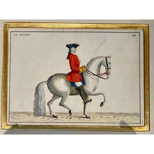 1900 - 1909 Four Engravings of Horse Riders Le Soldat, Le Grand, Le Diligent, L' Enjoue For Sale - Image 5 of 12