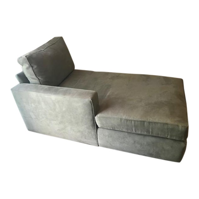 Room and Board Suede Chaise Lounge - Image 1 of 10