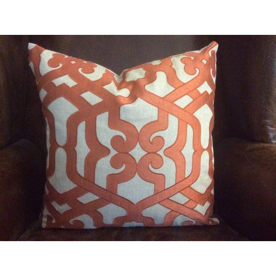 Soo lovely! These pillow covers are fashioned from high end fabric from Kravet's Couture line--Featuring a rich coral-...