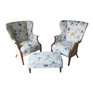 Floral Wingback Chairs & Ottoman - Set of 3