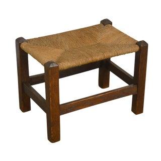 Mission Oak Stickley Era Antique Rush Seat Stool For Sale