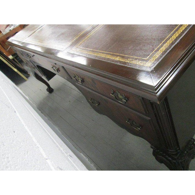 Large Queen Anne Style Executive Antique Style Partners Desk - Image 5 of 9 - Distinguished Large Queen Anne Style Executive Antique Style