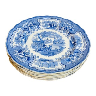 Antique Early 19th Century Staffordshire Blue and White Transferware Dinner Plates -Set of 6 For Sale