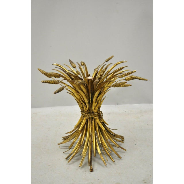 Vintage Italian Hollywood Regency Gold Gilt Iron Metal Wheat Sheaf Small Side Table For Sale - Image 12 of 13