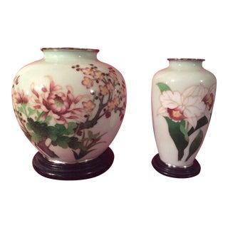 Japanese Cloisonne Vases - a Pair For Sale