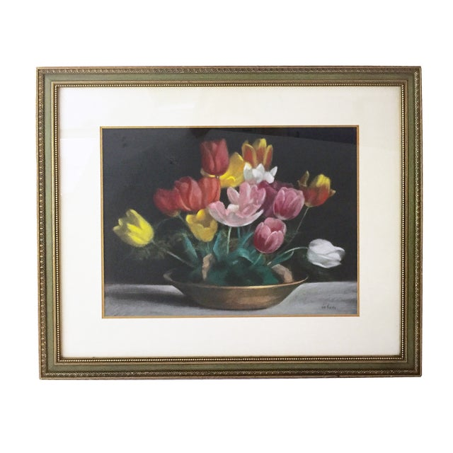 Vintage still life of tulips. Pastel on Paper presented in a green frame with gilt details and mat. Signed lower right....
