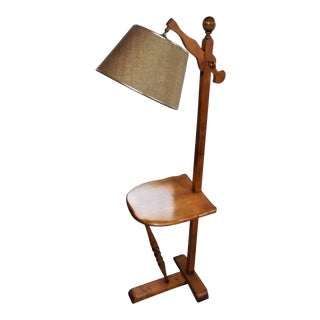Vintage Chair Side Wood Floor Lamp With Shelf For Sale