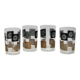 Mid-Century Black & Gold Geometric Tumbler Glasses - Set of 4