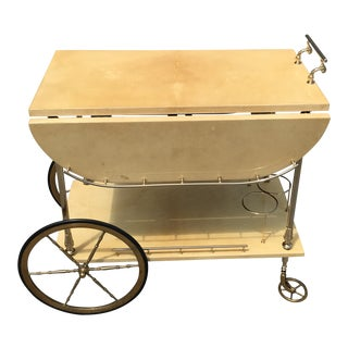 1960s Mid Century Modern Aldo Tura Laquered Goatskin Bar Cart For Sale