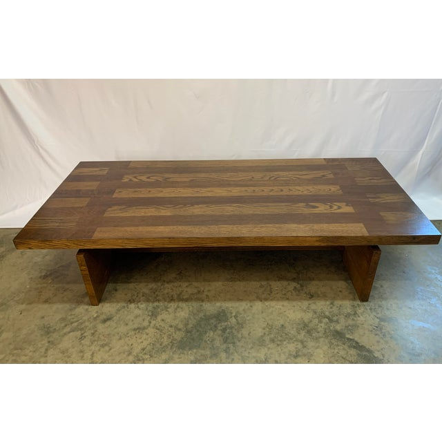 Lane Furniture 1970s Lane Brutalist Walnut and Oak Coffee Table For Sale - Image 4 of 8