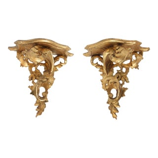 Pair of Italian Rococo-Style Giltwood Wall Brackets For Sale