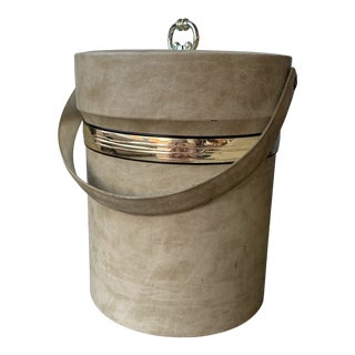 Vintage Faux Leather Ice Bucket For Sale