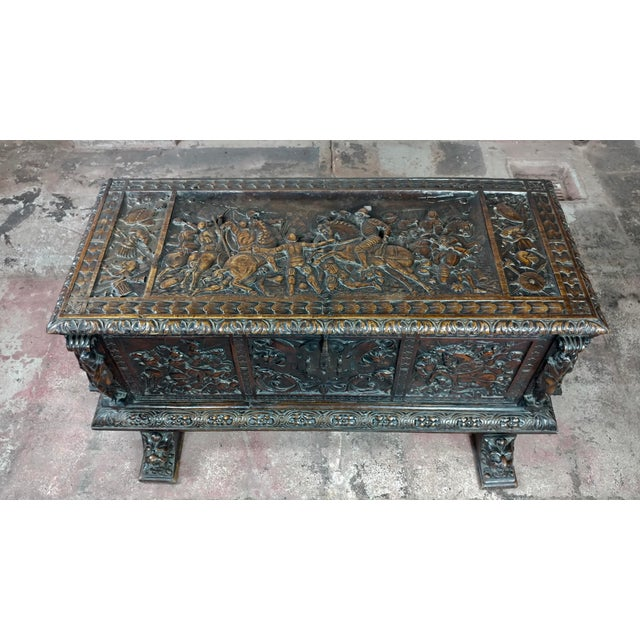 18th Century Highly Carved Italian Renaissance Cassone For Sale - Image 4 of 11