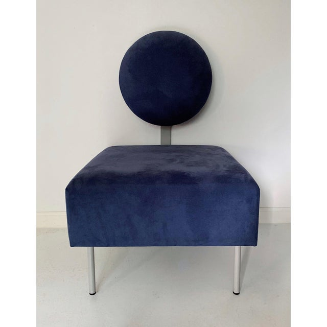 Metal 1980's Vintage Andreu World Contemporary Blue Square Lounge Chair For Sale - Image 7 of 7