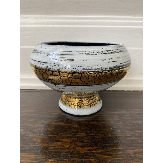 Mid 20th Century Italian Ceramic White Gold and Black Bowl For Sale In Los Angeles - Image 6 of 7