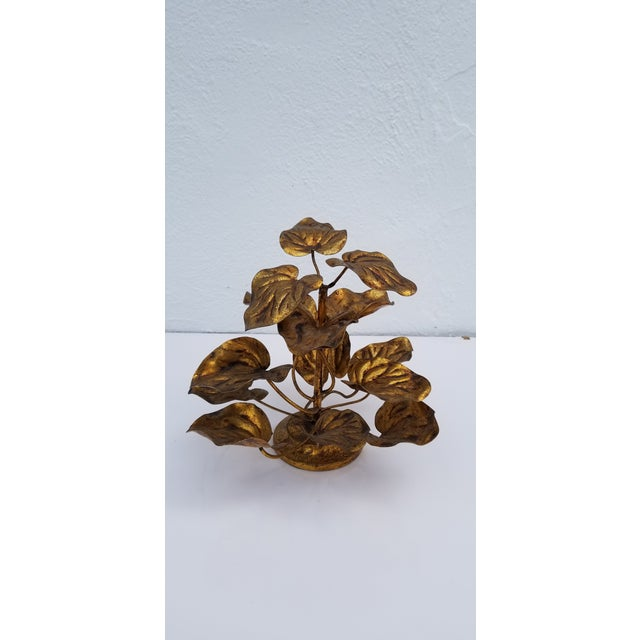 Beautiful Hollywood Regency inspired Italian gilded plant shaped sculpture. Metal tag attached - MADE IN ITALY. In...