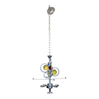 Contemporary Colored Glass & Painted Aluminum 6 Bulb Chandelier by Van Teal For Sale