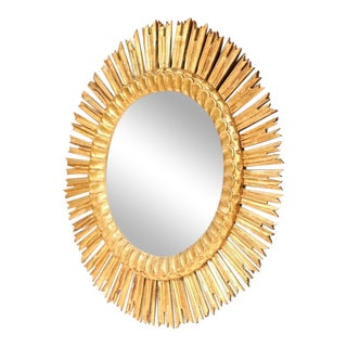 Large Mid-20th Century French Giltwood Sunburst Mirror