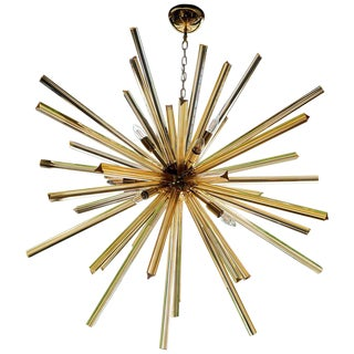 1 or 2 Huge Brass and Amber Murano Glass Sputnik Chandelier Venini Style For Sale