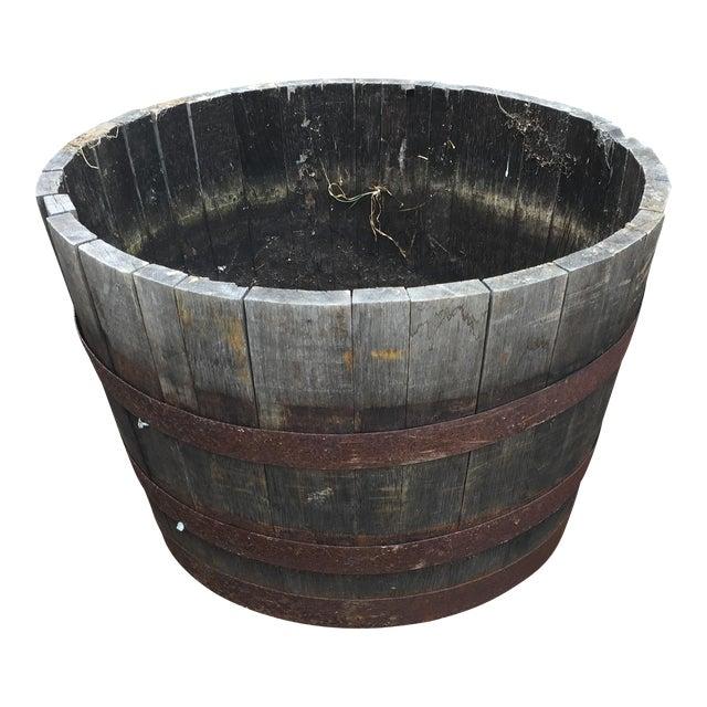 Oak Wine Barrel Half-Barrel Planter - Image 1 of 4