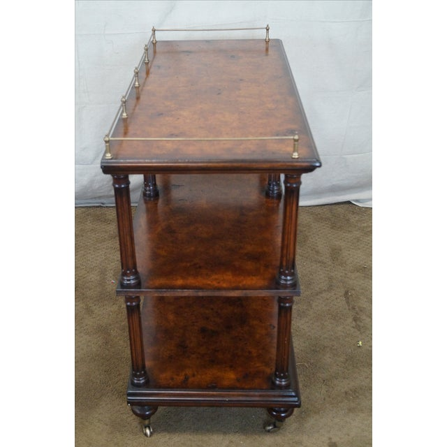 Quality Burl Wood 3 Tier Regency Style Server Cart For Sale - Image 7 of 10
